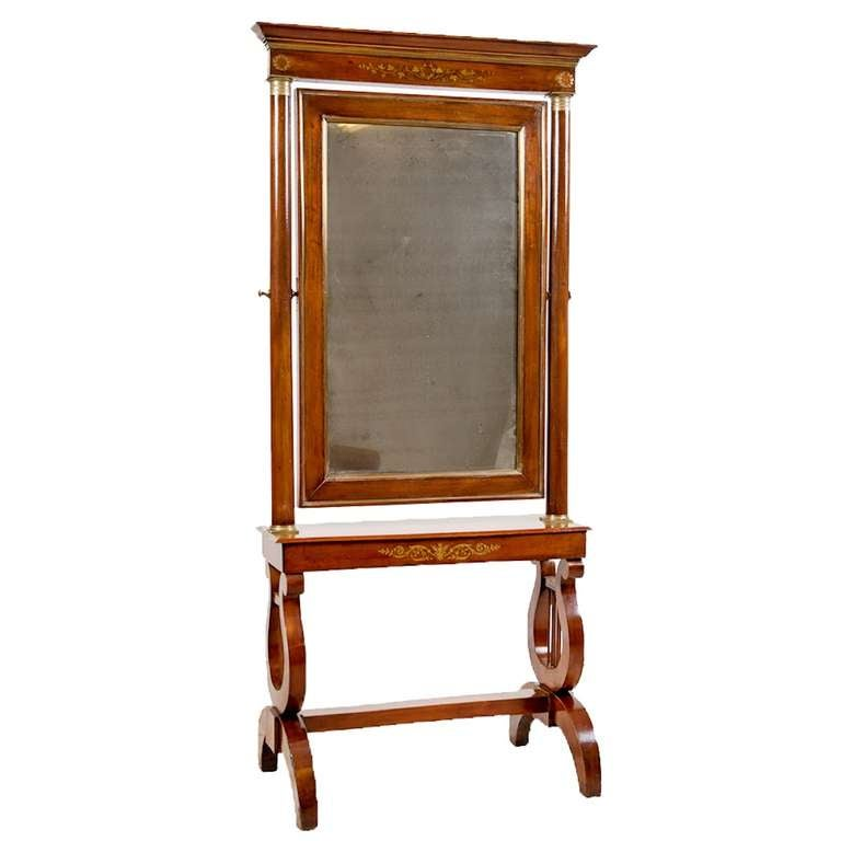 Period French Empire Light Mahogany Cheval Mirror with Brass Inlays, circa 1790