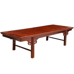 Qing Chinese Bamboo & Elm Coffee Table/ Daybed, circa 1850