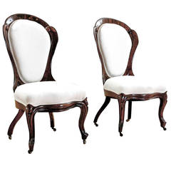 Pair of Rosewood Upholstered Salon Chairs by John Henry Belter, circa 1844