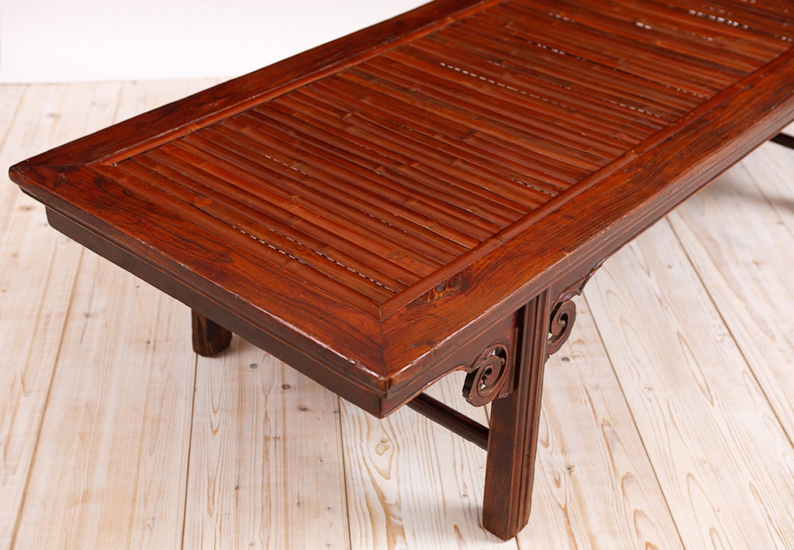 Hand-Carved Qing Chinese Bamboo & Elm Coffee Table/ Daybed, circa 1850 For Sale