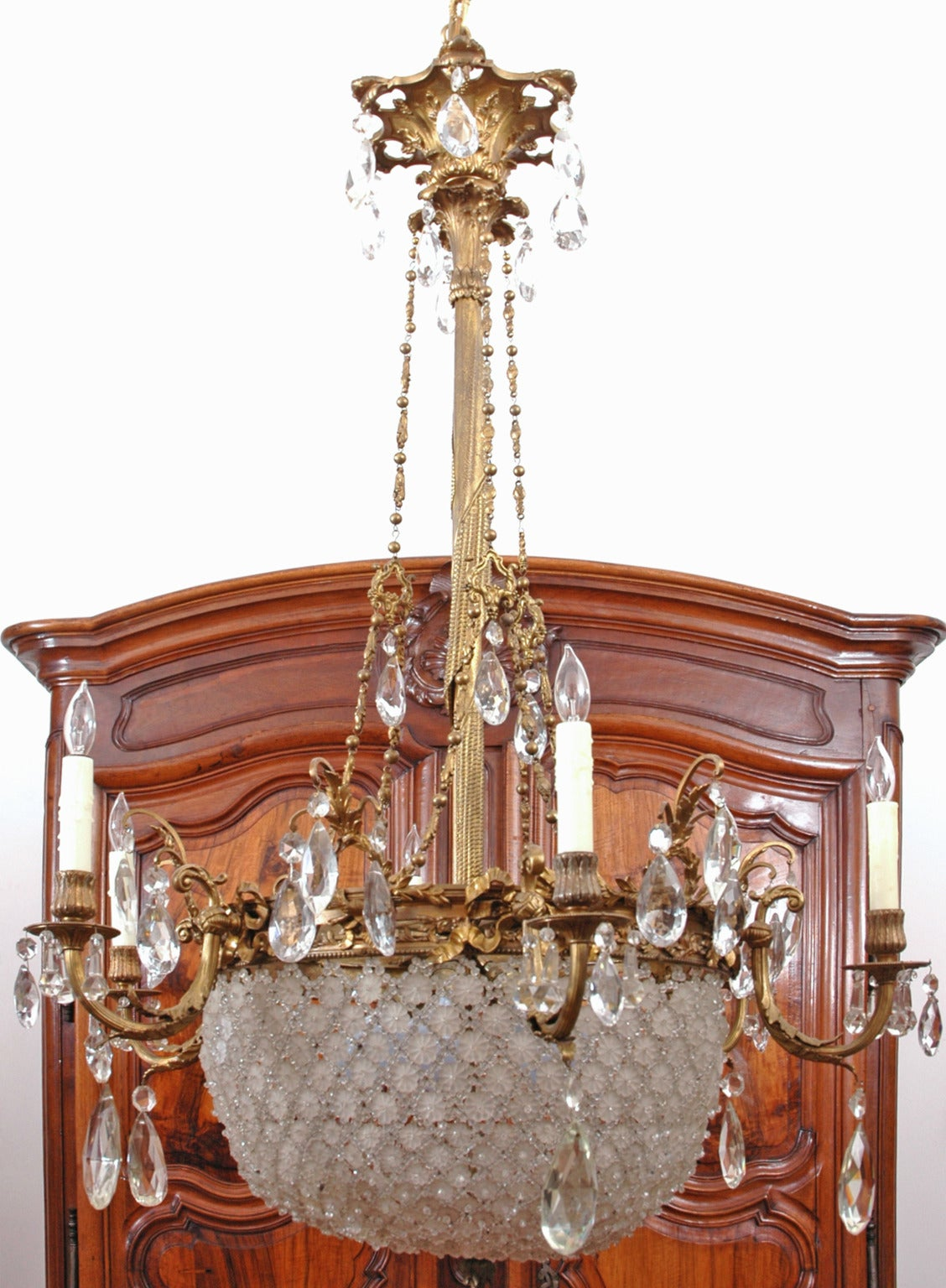 Baccarat Style Bronze And Crystal Chandelier At 1stdibs