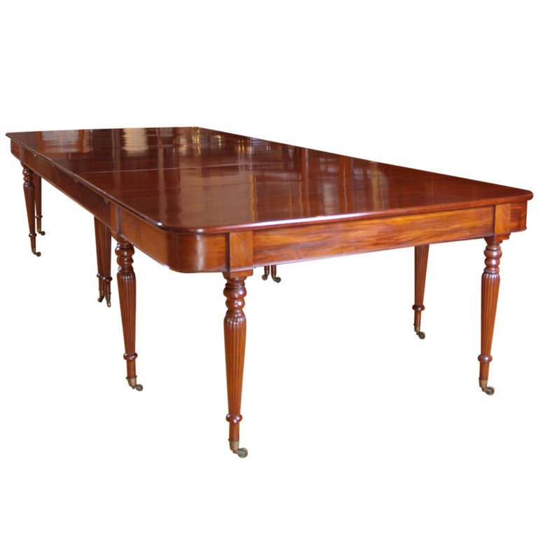 Long And Wide Two Part English Banquet Dining Table In Mahogany With Four  Leaves For