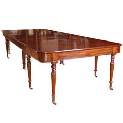 Long English Regency Banquet Dining Table in Mahogany w/ 4 Leaves, c. 1820