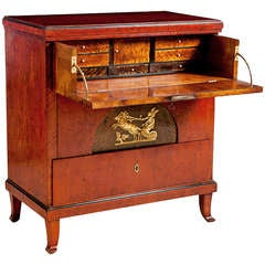 Biedermeier or Empire Small Chest of Drawers and Secretary, Sweden, circa 1820