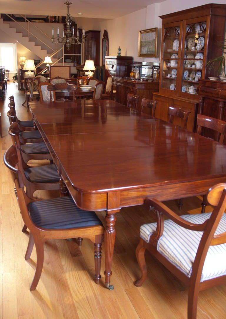 Long English Regency Banquet Dining Table In Mahogany W 4
