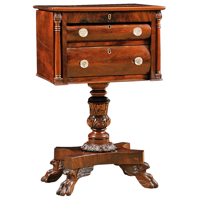 American Empire Side Table with Writing Surface in Mahogany, circa 1825 For Sale