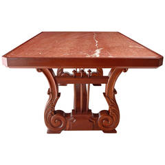 "75"" Desk or Dining Table with Carved Lyre Trestle Base and Inset Marble Top"