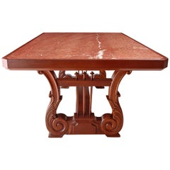 "Custom 75"" Table with Carved Lyre Mahogany Trestle Base and Inset Marble Top"
