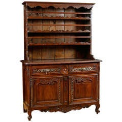 18th Century Period Louis XV French Vaisselier or Cupboard in Walnut, Mid 1700's