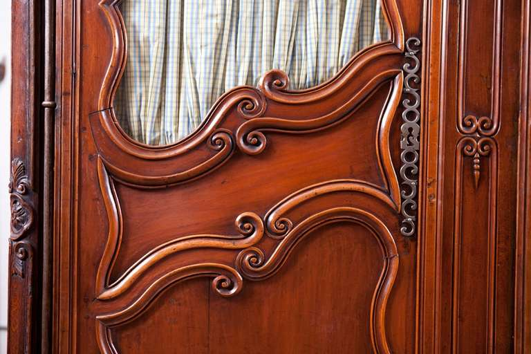 Polished Period French Louis XV Walnut Armoire, Mid-1700s For Sale