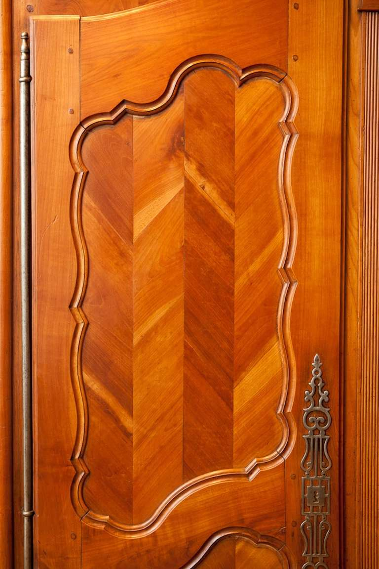 Antique French Louis XV Style Armoire in Cherrywood w Chevron or