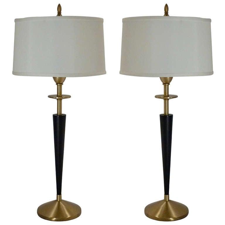 Pair Of Elegant Stiffel Candlestick Lamps At 1stdibs