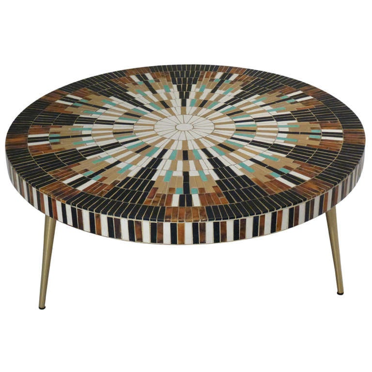 Mosaic tile sunburst coffee table at 1stdibs for Mosaic coffee table designs
