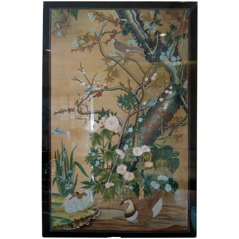 Hand Painted Japanese Silk Panel Screen With Cherry
