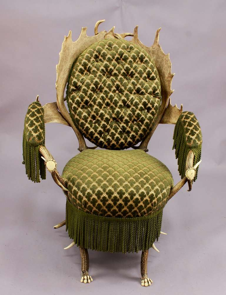 Black Forest Two Rare Antler Parlour Armchairs, Austria, circa 1880 For Sale