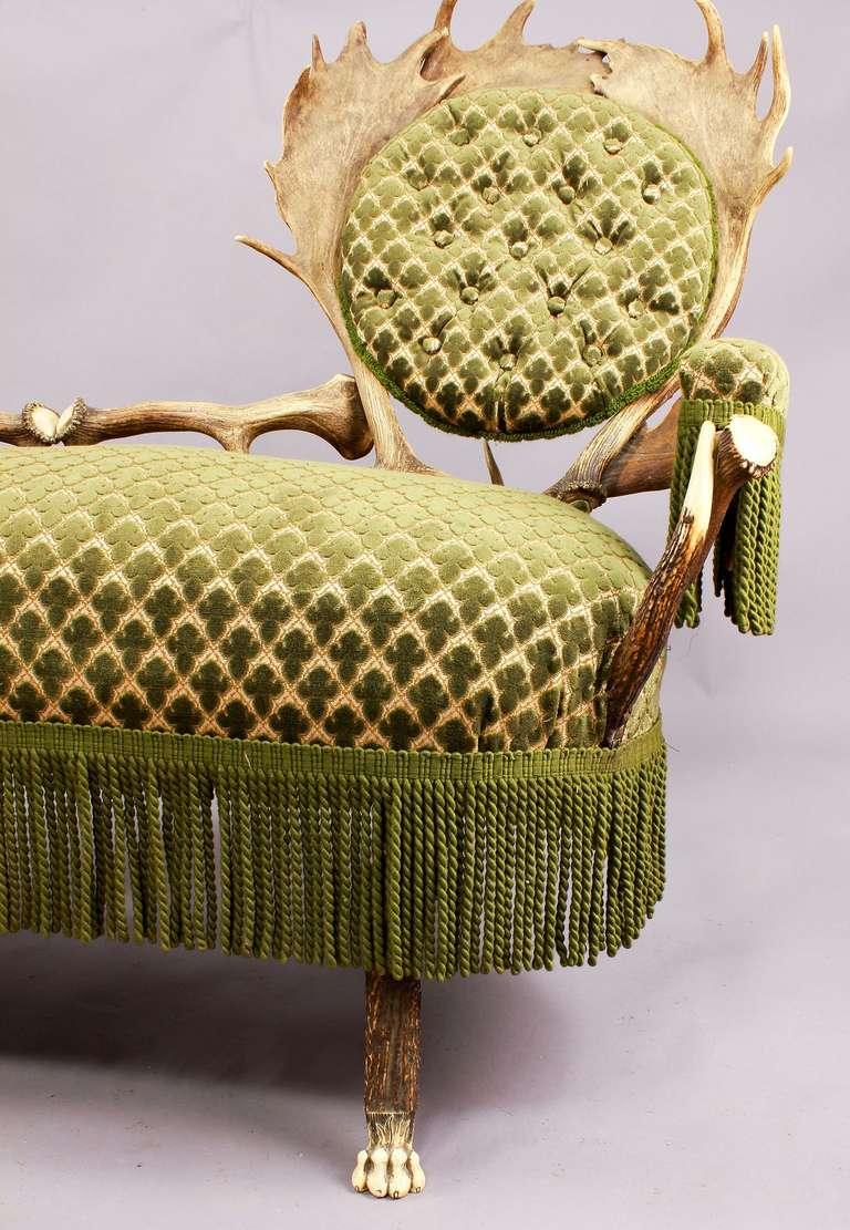 Black Forest Two-Seat Antler Settee, Austria, circa 1880 For Sale