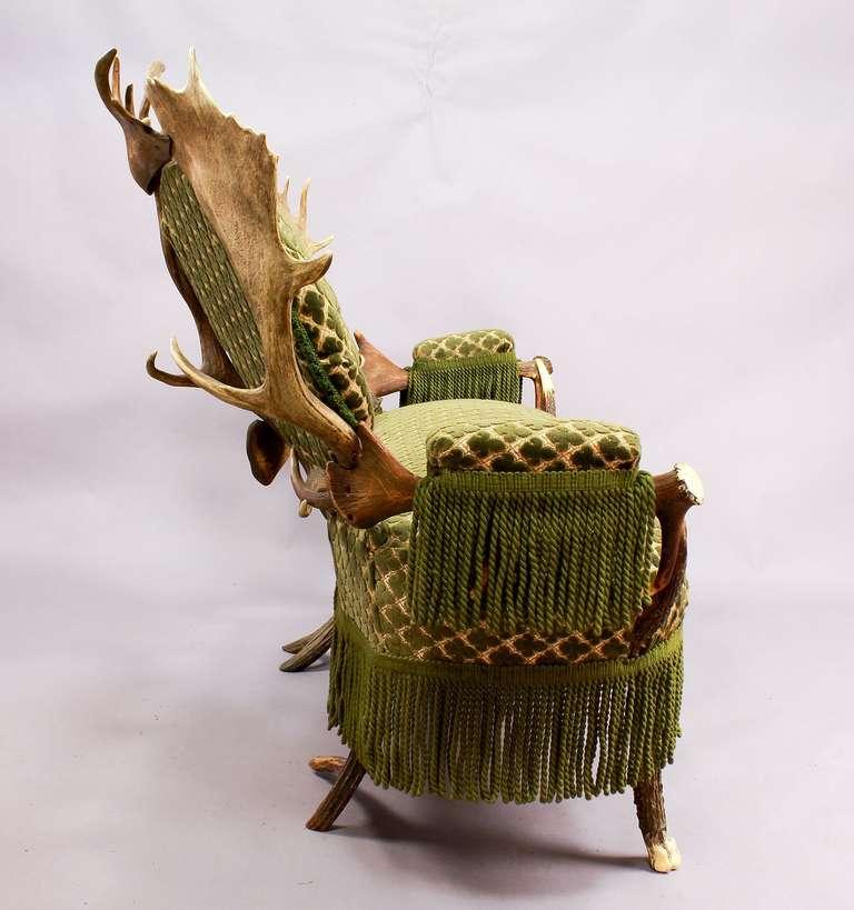 Two-Seat Antler Settee, Austria, circa 1880 In Good Condition For Sale In Berghuelen, DE