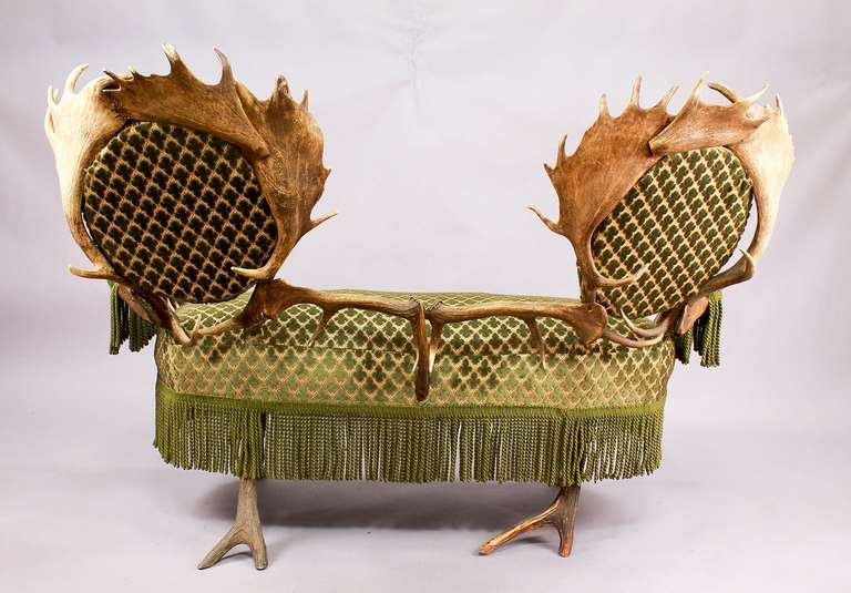 19th Century Two-Seat Antler Settee, Austria, circa 1880 For Sale