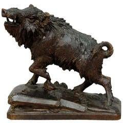 Antique Black Forest Carved Wood Wild Boar, Brienz, circa 1900