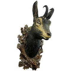 Superb Carved Wood Chamois Head by Eduard Heissl