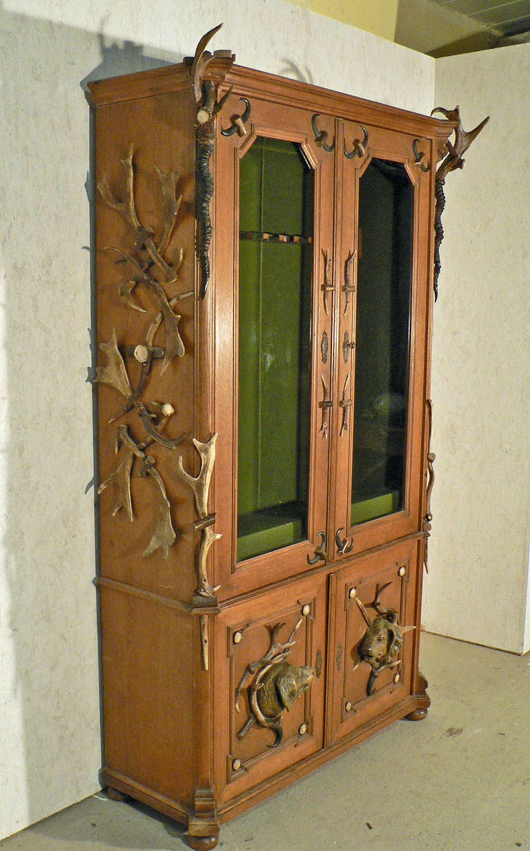Large Antique Oak Gun Cabinet Decorated With Original Antlers From The  Deer, The Fallow Deer