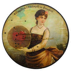 An Antique Handpainted Shooting Target, Oil on Wood 1892