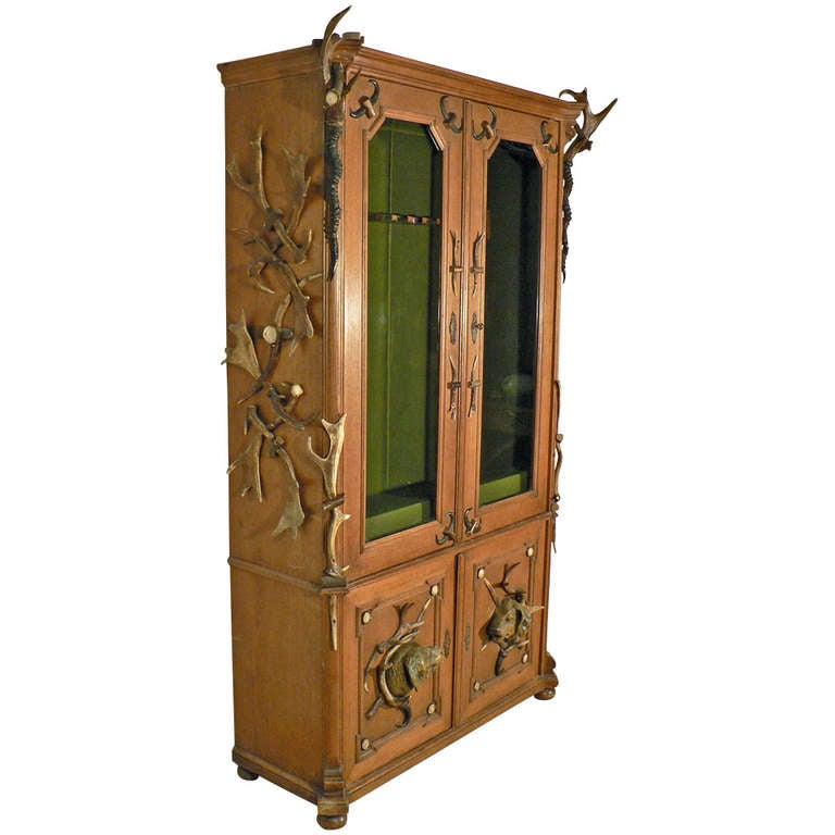 Outstanding Antique Black Forest Antler Gun Cabinet Circa 1900 Download Free Architecture Designs Scobabritishbridgeorg