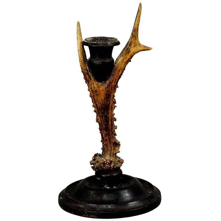 Antique Black Forest Antler Candleholder, circa 1880