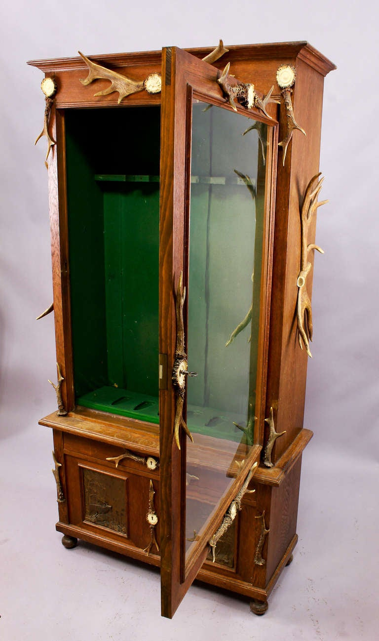 Black Forest Wood and Horn Gun Cabinet, circa 1900 at 1stdibs