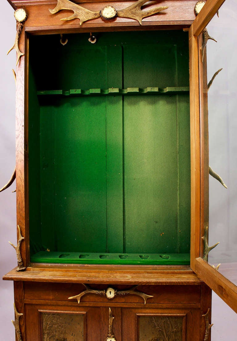 Black Forest Wood and Horn Gun Cabinet, circa 1900 For ...