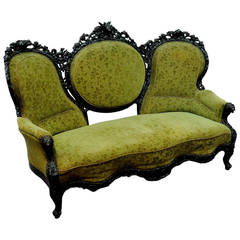 Black Forest Three-Seat Settee with Fine Carvings