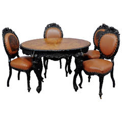 Black Forest Rustic Carved Table with Four Chairs