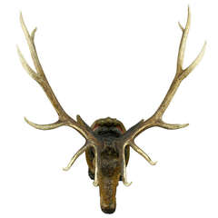 Wooden Carved Stag Head with Large Real Antlers