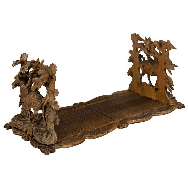 Carved Wood Bookends with Mountain Goats Swiss, 1900