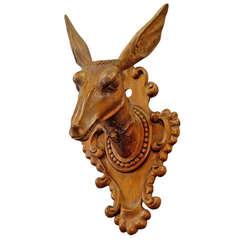 Antique Carved Wood Head of Roe Deer