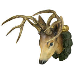 Black Forest Carved Wood Sika Deer Head circa 1920