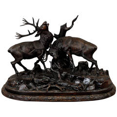 Carved Wood Fighting Stags by Rudolph Heissl