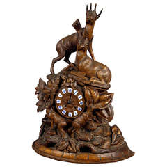 Black Forest Carved Wood Chamois Mantel Clock