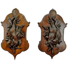 Pair of Antique Black Forest Carved Wood Game Plaques of a Deer and Pheasant