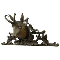 Black Forest Carved Wood Chamois Head