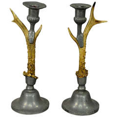 Antique Black Forest Antler Candleholders with Pewter Spouts