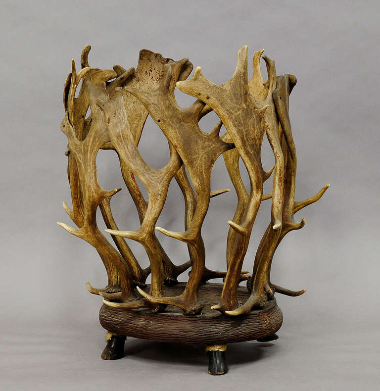 A Black Forest rustic basket. Fallow deer antlers on a carved wooden base. Wooden feet carved as goat hoofs. May be used as plant cachepot or waste paper basket. Executed, circa 1900.