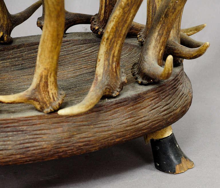 Wood Antique Black Forest Antler Basket For Sale