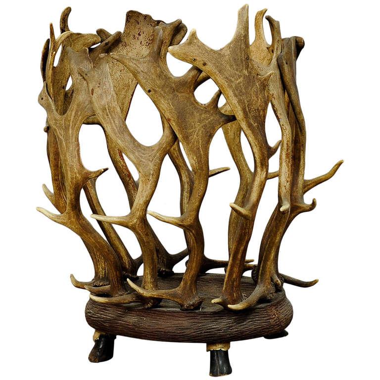 Antique Black Forest Antler Basket For Sale
