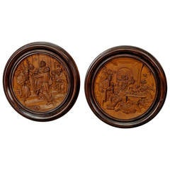 Pair of Wooden Micro Carving Plaques by Johann Rint