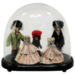Gorgeous Wunderkammer Diorama of Family with Bone Faces
