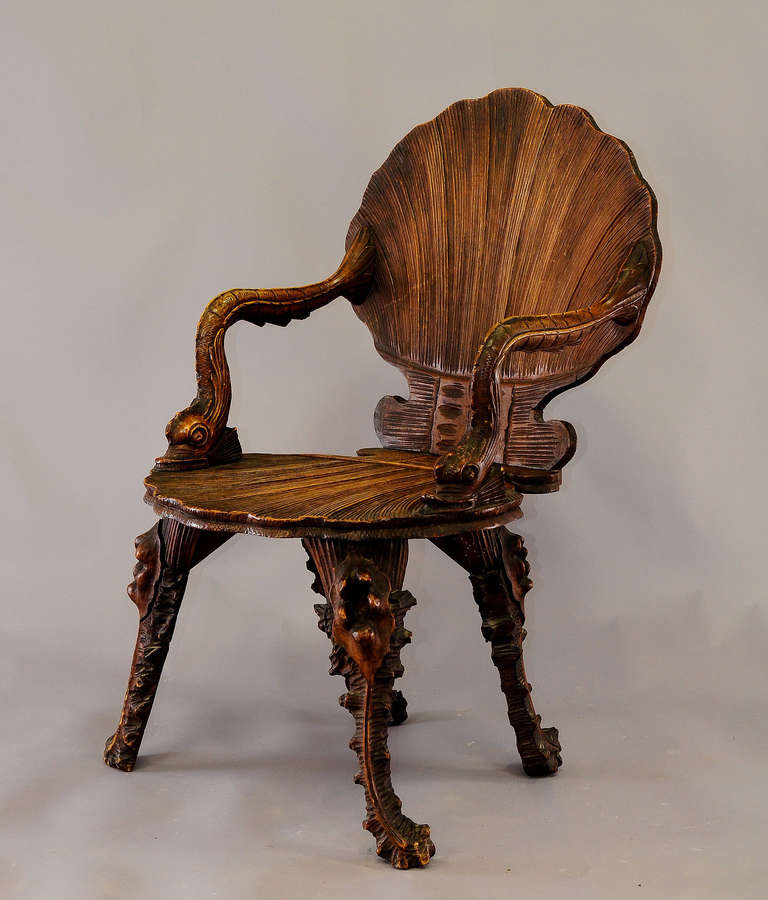 Antique Wooden Carved Chair ~ Antique wooden carved grotto armchair circa at stdibs