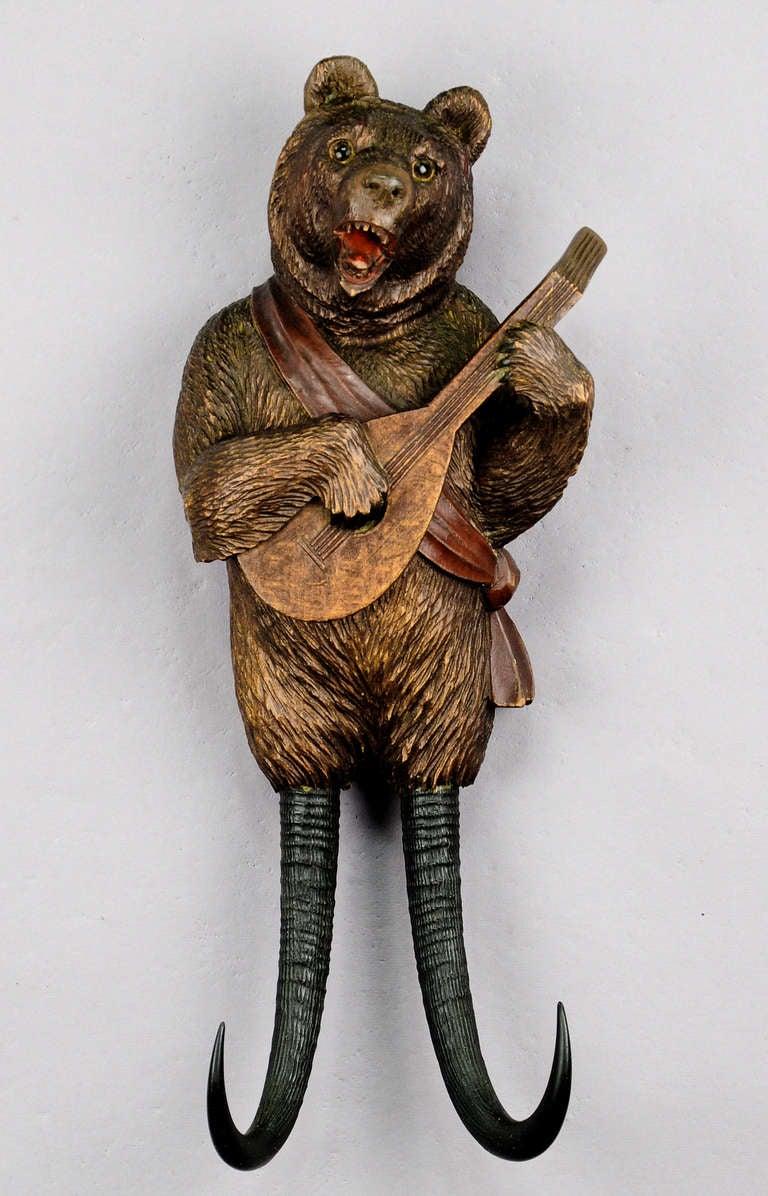 black forest carved wood bear whip holder with music brienz ca 1890 at 1stdibs. Black Bedroom Furniture Sets. Home Design Ideas