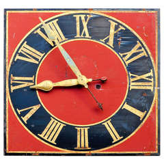 Antique Church Metal Clock Face with Gilded Hands