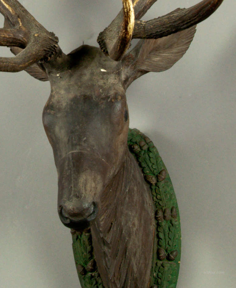 Antique Black Forest Carved Wood Stag Head At 1stdibs